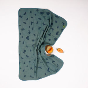 BORO*MINI WIEG DEKEN TEAL GREEN-PRINT