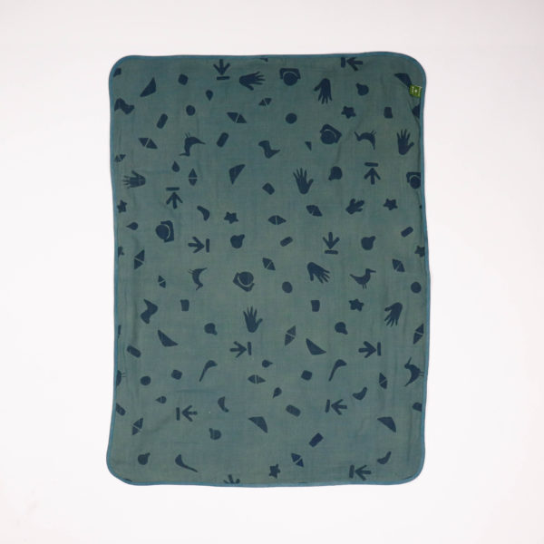 BORO*MINI BABY BLANKET TEAL GREEN-PRINT