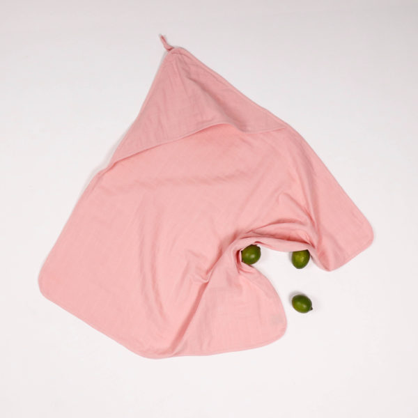 MUSLIN HOODED BATH TOWEL MADDER PINK