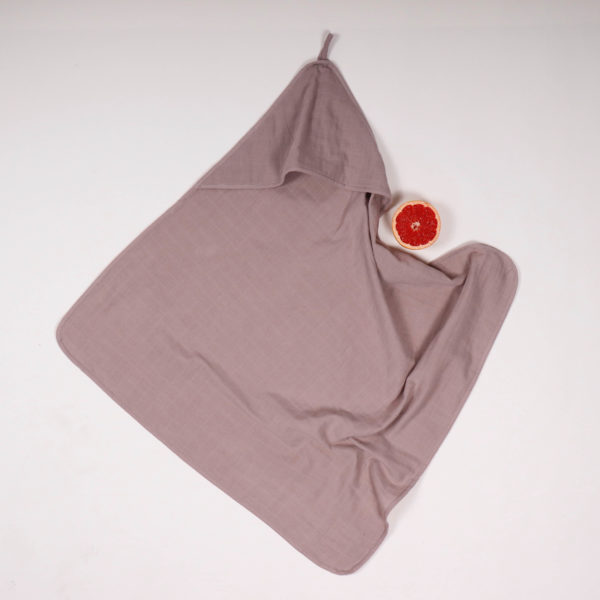 MUSLIN HOODED BATH TOWEL SUNNY GREY